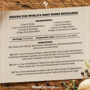 Best recipe for Home Exchange